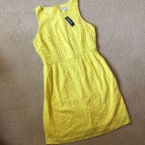 Yellow Eyelet Shift Dress